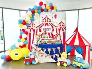 Circus Carnival | Baby Full Month | 100 days | 1 year old | Party Ideas | Themed Styling | Props Rental | Dessert Table | Feature Wall | Instaworthy