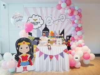 Wonder Woman | Super Heroes | Baby Full Month | 100 days | 1 year old | Party Ideas | Themed Styling | Props Rental | Dessert Table | Feature Wall | Instaworthy