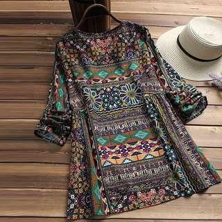 free pos Women boho floral long sleeve casual tops shirt Blouse