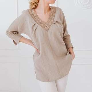 free posPlus size women summer v neck 3/4 sleeve Blouse