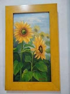 Lukisan Bunga matahari ukuran 25 x 45 cm