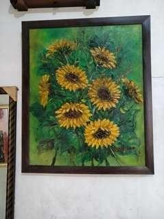 Lukisan Bunga matahari ukuran 50 x 60 cm