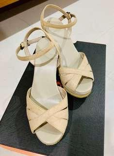 🚚 AS集團 Helene Spark 米色 楔型 藤編 竹編 涼鞋 23.5cm /37號
