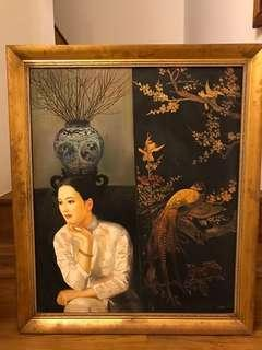 Chinese oil painting with frame
