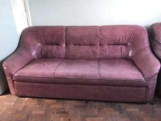 BUNDLE: Sofa Set with Glass Coffee Table