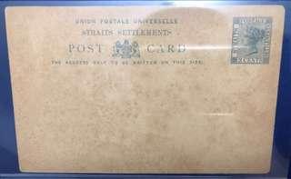 🚚 1885 Straits Settlements Postcard Victoria 3 cents blue