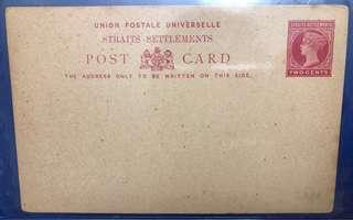 🚚 1893 Straits Settlements Postcard Victoria 2 cents carmine