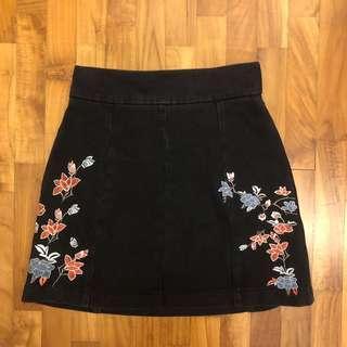 🚚 moto embroidery denim skirt