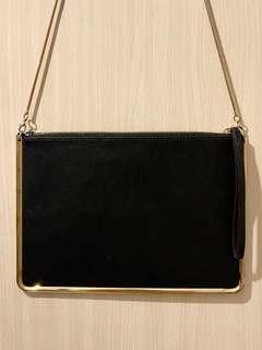 Mango Genuine Leather Metal Detail Sling Bag