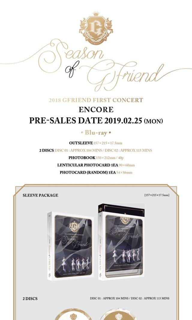 2018 Gfriend First Concert [SEASON OF GFRIEND] Encore Blue Ray