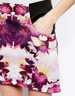 Floral Print Scuba Skirt with pockets