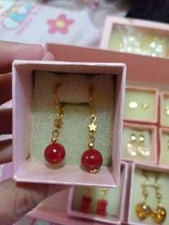 10K Gold Plates Corals Dangling Earrings