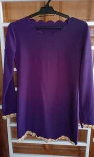 Scallop plain baju kurung