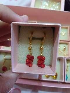 10K Gold Plated Bunch of Corals Dangling Earrings