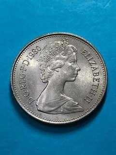 1980 British 5 Pence Coin(Large Type) ( United Kingdom Coin / UK Coin )