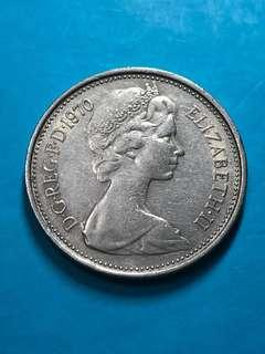 1970 British 5 Pence Coin(Large Type) ( United Kingdom Coin / UK Coin )