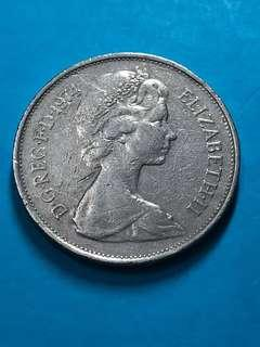 1974 British 10 Pence Coin(Large Type) ( United Kingdom Coin / UK Coin )