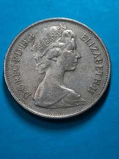 1973 British 10 Pence Coin(Large Type) ( United Kingdom Coin / UK Coin )
