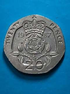 1987 British 20 Pence Coin ( United Kingdom Coin / UK Coin )