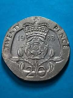 1983 British 20 Pence Coin ( United Kingdom Coin / UK Coin )