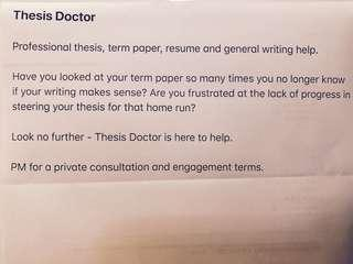 Thesis Doctor (writing, paper, CV, editing help)