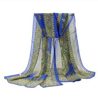 Women Fashion 2 In 1 Chiffon Flora Scarf &Beachwear