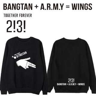 BTS Bangtan x Army = Wings Pullover Sweater Long Sleeves Top
