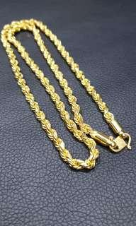916 gold rope necklace 113.26grams, 62cm, 5.5mm thick