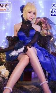 Fate/Extella Saber Blue Gown Cos