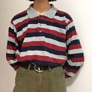 🚚 古著條紋polo衫