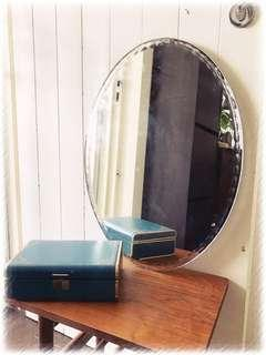 Vintage Oval Mirror with Bevelled Beading