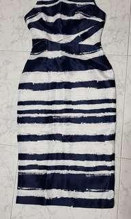 Love Bonito blue white strap sleeveless long dress