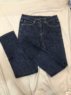 深牛仔褲 貼身 緊身牛仔長褲