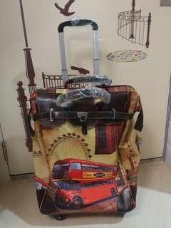 英倫風360度萬向輪手提行李箱喼手拉車購物車買餸車拉杆包