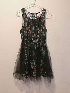 紗紗霓虹彩卉歐美派對洋裝