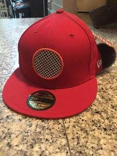 New Era Fitted Cap Hat Red Stamped