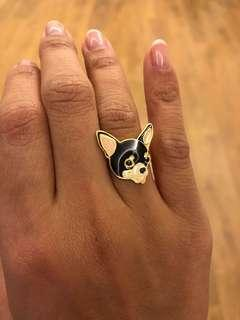 Chihuahua gold plated ring