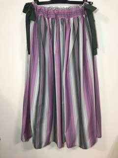 🚚 日貨 粉綠條紋蝴蝶結長裙