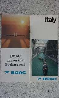 Vintage BOAC tourist guide of Italy.