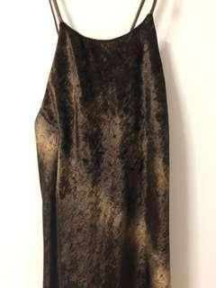 🚚 BNWT Sexy Brown Velvet Maxi Dress Shoelace Tie Low Back