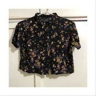 Floral Cropped Button Down