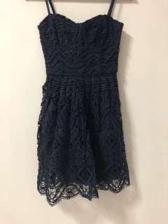 🚚 Love Bonito Covet Navy Spaghetti Crochet Dress Size XS
