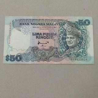 Duit Kertas Lama 50 Malaysia Ringgit