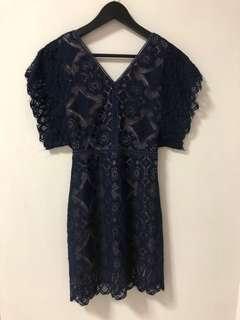 🚚 Navy Lace Crochet V-Neck Dress