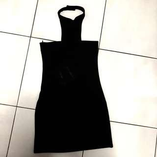 🚚 MDS Black Halter Neck Bodycon Dress