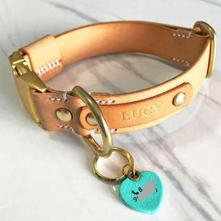 2.5cm Natural Leather Dog Collar Personalized Quick side Release Name Custom Monogram Avaloncraft Henbury Dog Collar