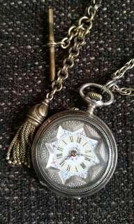 上鏈古董錶&純銀瓷花飾物