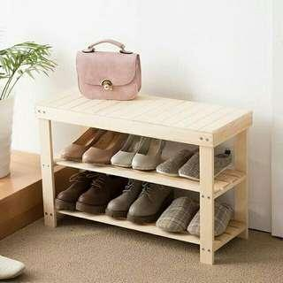 wooden bench with shoes rack