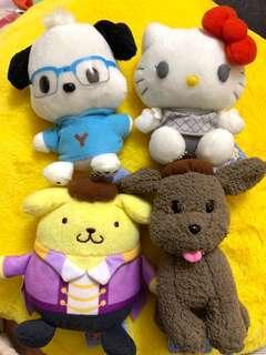 絕版2017年 一套4隻 Sanrio  x yuri on ice PC狗 布甸狗 hello kitty