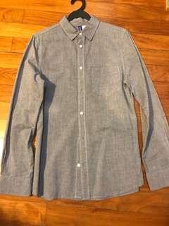 🚚 H&M dark blue long sleeve casual shirt XS